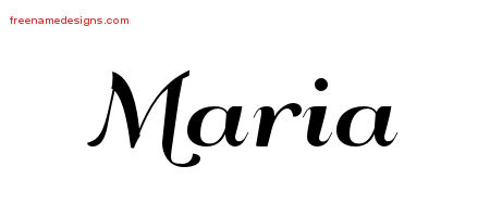 Maria Art Deco Name Tattoo Designs