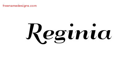 Reginia Art Deco Name Tattoo Designs