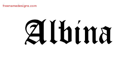 Albina Blackletter Name Tattoo Designs