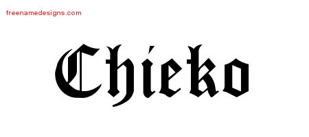 Chieko Blackletter Name Tattoo Designs