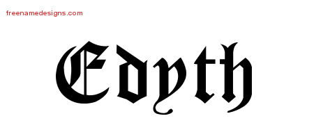 Edyth Blackletter Name Tattoo Designs