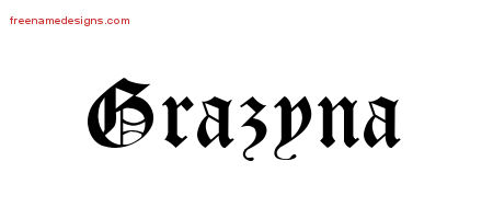 Grazyna Blackletter Name Tattoo Designs