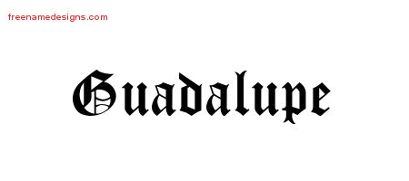 Guadalupe Blackletter Name Tattoo Designs