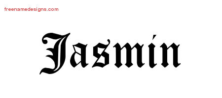 Blackletter Name Tattoo Designs Jasmin Graphic Download Free Name Designs