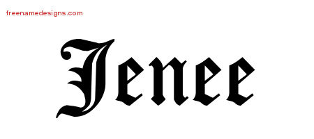 Jenee Blackletter Name Tattoo Designs