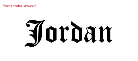Jordan Blackletter Name Tattoo Designs