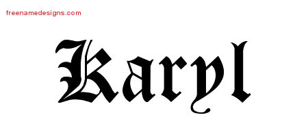 Karyl Blackletter Name Tattoo Designs