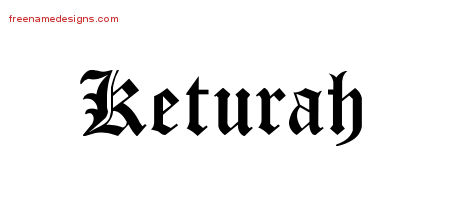 Keturah Blackletter Name Tattoo Designs
