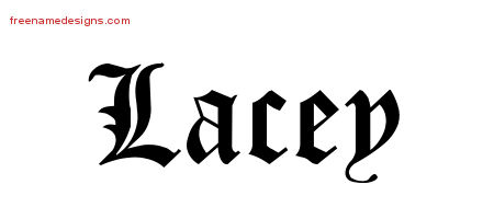 Lacey Blackletter Name Tattoo Designs