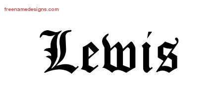 Lewis Blackletter Name Tattoo Designs
