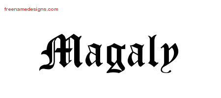 Magaly Blackletter Name Tattoo Designs