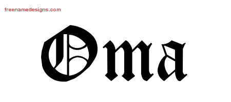 Oma Blackletter Name Tattoo Designs