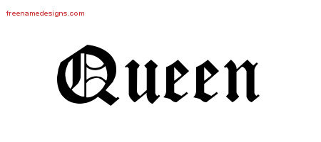 Queen Blackletter Name Tattoo Designs