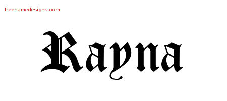 Rayna Blackletter Name Tattoo Designs