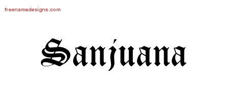 Sanjuana Blackletter Name Tattoo Designs