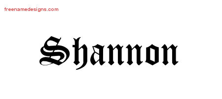 Shannon Blackletter Name Tattoo Designs