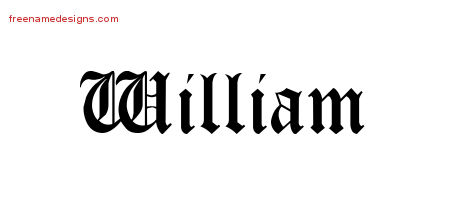 William Blackletter Name Tattoo Designs