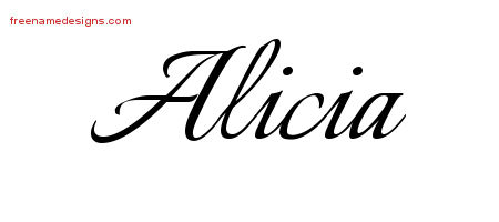 calligraphic name tattoo designs alicia download free free name designs. Black Bedroom Furniture Sets. Home Design Ideas