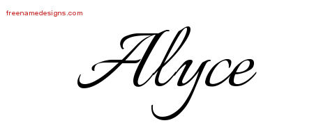 Alyce Calligraphic Name Tattoo Designs