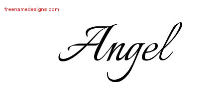Angel Calligraphic Name Tattoo Designs