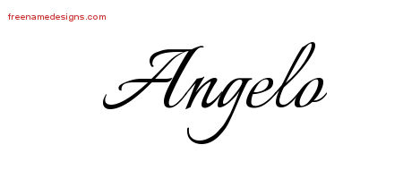 Angelo Calligraphic Name Tattoo Designs