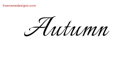 Autumn Calligraphic Name Tattoo Designs Free LetteringThe Name Autumn Tattoo