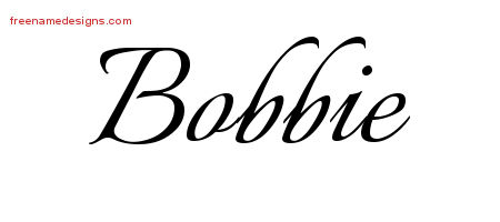 Bobbie Calligraphic Name Tattoo Designs
