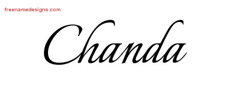 Chanda Calligraphic Name Tattoo Designs