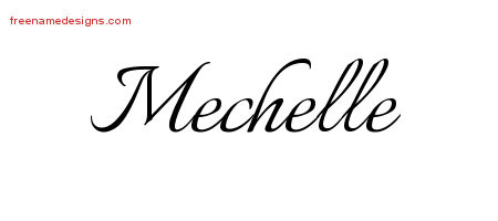 Mechelle Calligraphic Name Tattoo Designs