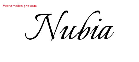 Nubia Calligraphic Name Tattoo Designs