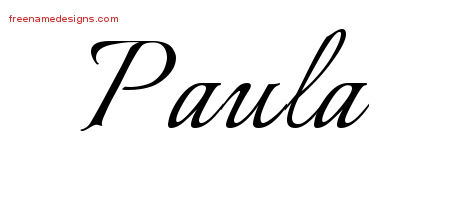 Paula Calligraphic Name Tattoo Designs