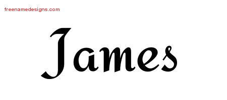 James Calligraphic Stylish Name Tattoo Designs