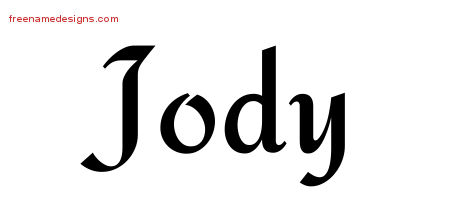 Jody Calligraphic Stylish Name Tattoo Designs