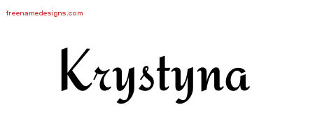Krystyna Calligraphic Stylish Name Tattoo Designs