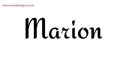 Marion Calligraphic Stylish Name Tattoo Designs