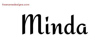 Minda Calligraphic Stylish Name Tattoo Designs