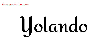 Yolando Calligraphic Stylish Name Tattoo Designs