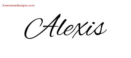 Alexis Cursive Name Tattoo Designs