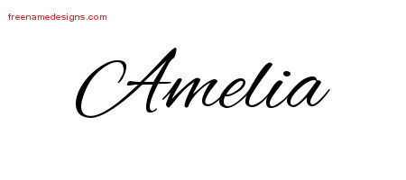 how to write amelia in cursive