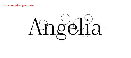 Angelia Decorated Name Tattoo Designs