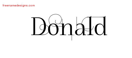 Donald Decorated Name Tattoo Designs