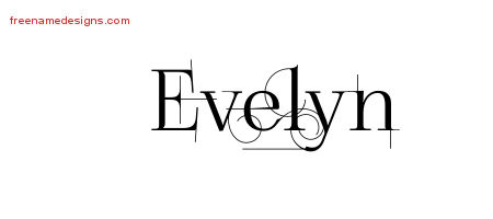 Evelyn Decorated Name Tattoo Designs