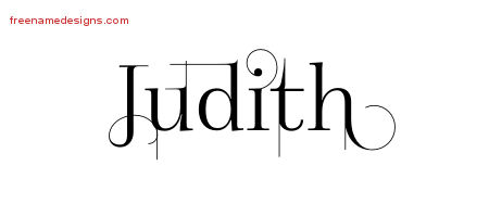Judith Decorated Name Tattoo Designs