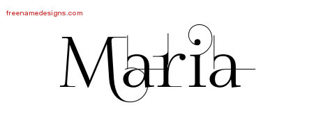 Maria Decorated Name Tattoo Designs