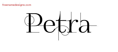 Decorated Name Tattoo Designs Petra Free - Free Name Designs