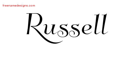 Russell Elegant Name Tattoo Designs