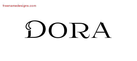 Dora Flourishes Name Tattoo Designs