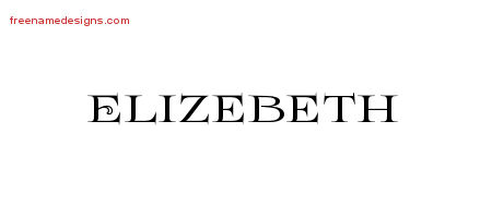 Elizebeth Flourishes Name Tattoo Designs