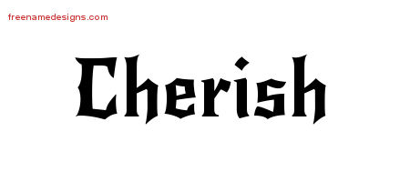 Cherish Gothic Name Tattoo Designs