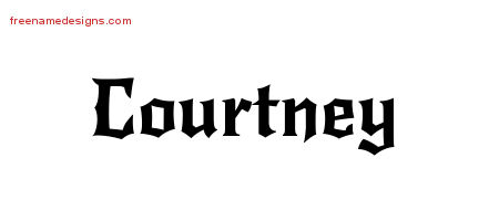 Courtney Gothic Name Tattoo Designs